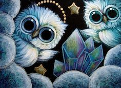 TINY ANGELS OWLS WITH RAINBOW QUARTZ CLUSTER