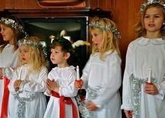 St Lucie's Day...A tradition in our family as my Mom's name is Lucie. The oldest girl of the family wears a wreath with candles on her head and brings rolls and hot cocoa to all other members of the family