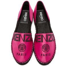 Kenzo Pink Logo Cut Out Espadrilles (€180) ❤ liked on Polyvore featuring shoes, sandals, cut out sandals, cutout sandals, pink sandals, espadrille sandals and round cap