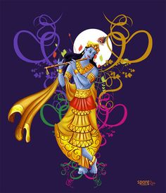 This is an attractive design of Krishna playing magical music on Flute. Music is divine. Music is love and love is God. Share the love!