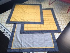 Baby play mat and blankets - citrine and asphalt