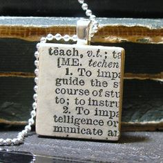 Vintage Dictionary Teach Scrabble Tile Necklace  For by dlkdesigns, $25.00