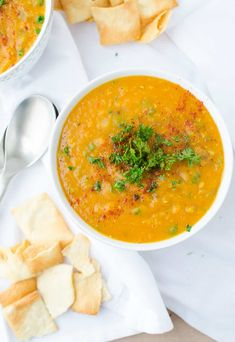 Red Lentil Soup! Vegan and Gluten-free! A healthy, low-fat soup that's cozy and simple! Packed with protein. |www.delishknowledge.com