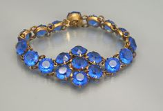 Deco Bracelet  Blue Crystal Open Back  Link by EarlyBirdJewels, $95.00