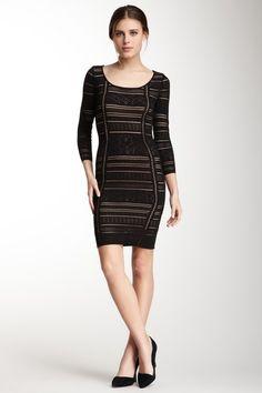 3/4 Sleeve Pointelle Dress by Catherine Malandrino