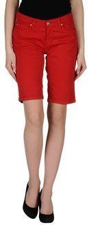 $37, Red Denim Shorts: Carhartt Denim Bermudas. Sold by yoox.com. Click for more info: http://lookastic.com/women/shop_items/210489/redirect