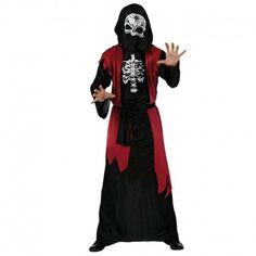 Disfraces Halloween | Disfraz de esqueleto túnica. ¡Asustarás a todo el mundo! Contiene túnica decorada con huesos y petachos rojos y capucha de calavera. Talla M/L. 17,95€ #esqueleto #tunica #disfrazesqueleto #disfrazdiablesa #disfraz #halloween #disfrazhalloween #disfraces