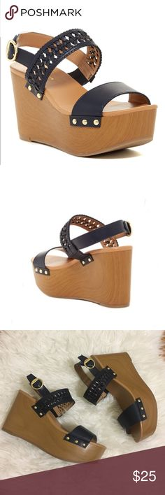 • Tommy Hilfiger wedge sandals size 9• Brand new. A wooden wedge elevates your style in this sandal that boasts a braided strap and metallic hardware for a luxe look.  3.5'' heel Buckle closure Faux leather upper Wood wedge Man-made sole Imported Tommy Hilfiger Shoes Sandals