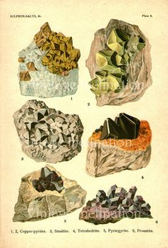 crystals and minerals illustration