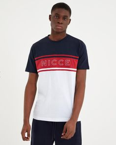 NICCE Mens Panel T-shirt Navy New Mens NICCE summer 2019 collection Mens t-shirt Panel details style Crew neck Navy red and white Nicce logo on chest cotton Regular fitting Style Panel tee Machine wash Fake Tan, Short Sleeves, Navy, Tees, Cotton, Mens Tops, T Shirt, Collection, Style