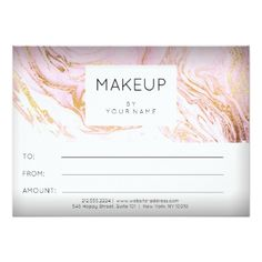 #gold - #Marble Pink Rose Makeup Beauty Certificate Gift 1 Card