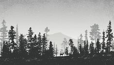 Winter landscape with evergreen trees, pine trees, bare trees and. Winter landscape with pine tree Landscape Drawings, Landscape Illustration, Watercolor Landscape, Landscapes, Tree Silhouette Tattoo, Forest Silhouette, Black And White Art Drawing, Black And White Landscape, Fantasy Landscape