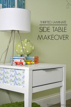 Can not believe how this $5 side table makeover turned out! Love the fabric detail on the sides!