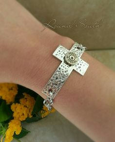 Bullet Jewelry-  Silver 38 Special Bullet Casing hammered cross bracelet  by RoundSouth