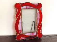 Items similar to Red Waves Stained Glass Picture Frame on Etsy Stained Glass Frames, Stained Glass Patterns, Leaded Glass, Stained Glass Art, Stained Glass Windows, Mosaic Glass, Fused Glass, Mirrored Picture Frames, Glass Picture Frames