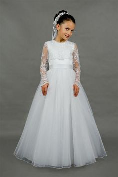 8218f54bc5 2016 Cute A-Line Floor Length Appliques Custom Made Full Length Sleeves  Girl Dress New Coming Organza And Lace Flower Girl Dress