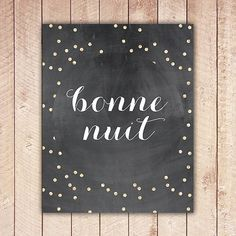Bonne Nuit French Nursery Printable Good Night by RosieAndViolets, $5.00