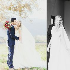 """""""When I saw you, I fell in love and you smiled because you knew"""" – William Shakespeare     Our beautiful bride, Rozelle in her dream dress by pronovias alongside her hubby."""