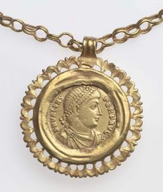 Necklace mounted with solidus of Emperor Valens  Roman, A.D. 364-378  gold  Museum of Fine Arts, Boston