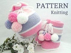 Articles similaires à Knitting PATTERN Baby Set Knitted Baby Hat Baby Booties Baby Boy Baby Girl Knitted Baby Outfit Pattern Baby Shoes Pattern in English ( PDF ) sur Etsy Baby Hats Knitting, Knitted Baby Blankets, Baby Knitting Patterns, Crochet Patterns, Baby Girl Patterns, Baby Shoes Pattern, Crochet Baby Sandals, Knit Baby Booties, Booties Crochet
