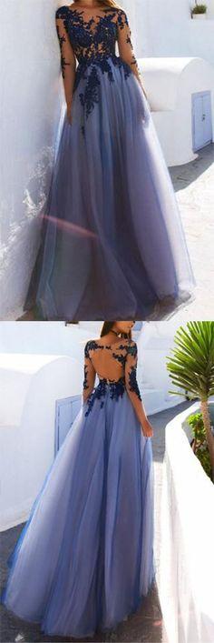 Sexy A-Line See Through Blue Lace Long Sleeve Open Back Appliques Long Prom Dresses UK PH413,#longsleeves#purple#promdress#unique#foamaldress#elegant