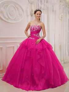Amazing Hot Pink Strapless Beaded Quinceanera Dress for Women for 2013