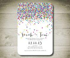 CONFETTI - Custom Personalised Printable Invitation. $14.00, via Etsy.