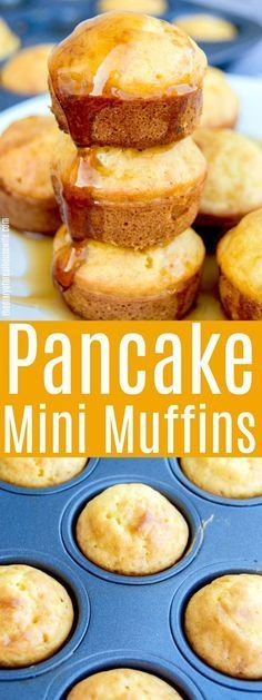 Pancake Mini Muffins make the perfect easy breakfast recipe. They freeze great and will be a breakfast your kids want to eat. Breakfast Pancakes, Breakfast Dishes, Breakfast For Kids, Best Breakfast, Breakfast Recipes, Dessert Recipes, Muffin Tin Breakfast, Breakfast Ideas, Breakfast Potatoes