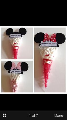 Mickey Mouse And Minnie Pre Filled Sweet Cones Party Bags Birthdays - Fiesta casera Mickey Mouse Theme Party, Fiesta Mickey Mouse, Mickey Mouse Bday, Mickey Mouse Clubhouse Birthday, Mickey Birthday, 2nd Birthday, Minnie Mouse Favors, Birthday Ideas, Mickey Mouse Cake Decorations