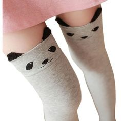 HITOP Womens Over the Knee Long Cute Light Grey Bears Cartoon Ladies... ❤ liked on Polyvore featuring intimates, hosiery, socks, over the knee socks, comic book, bear socks, thigh high socks and long socks