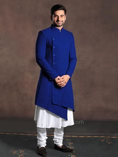 Awesome look in party function by wearing this Art Silk fabric kameez and Imported Fabric Blue coloured koti crafted with fancy button. Available with Art Silk fabric Off White color Churidar. Kurta Pajama Men, Kurta Men, Indian Groom Wear, Indian Wear, African Wear, Indian Men Fashion, Mens Fashion, Gents Kurta, Achkan