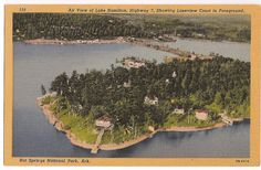 Air view of Lake Hamilton, Hot Springs National Park Arkansas, Highway 7 south, showing Lakeview Court in foreground, vintage postcard