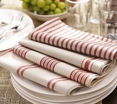 Summer red striped linen Napkins <3
