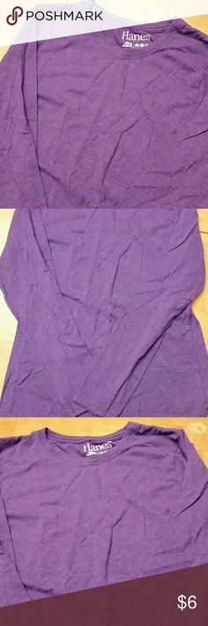 Purple long sleeve Hanes brand, soft purple long sleeve shirt. Comfy and beautiful shade of purple. Ask for measurements if needed. Smoke/pet free environment. I trade. Hanes Tops Tees - Long Sleeve