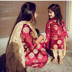 Mother & Daughter Matching Outfits for Wedding Party Mom Daughter Matching Dresses, Mom And Baby Dresses, Dresses Kids Girl, Kids Outfits, Girly Outfits, Salwar Kurta, Indian Salwar Kameez, Indian Lehenga, Lehenga Choli