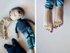 SALE. Cute fabric doll - cloth art rag doll, with denim dress, ballet flats and white scarf.. $50.00, via Etsy.