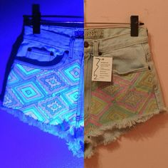 Glow-in-the-Dark Aztec Shorts (Handmade Made to Order Re-Purposed... ($69) ❤ liked on Polyvore featuring shorts, grey, women's clothing, aztec shorts, cut off, bleached cut off shorts, print shorts and glow in the dark shorts