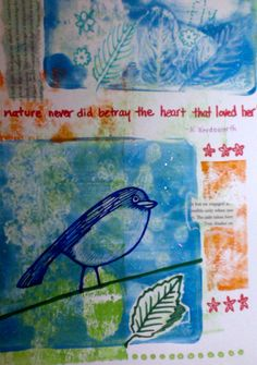 My very own Gelli print original, using acrylic paint, collage, and sharpees. SUPER fun activity!