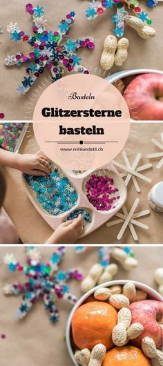 Adventsdeko: Weihnachtssterne basteln mit Kindern - Mini & Stil DIY: crafting glittering poinsettias with children // Advent decorations, Christmas decorations, glittering stars, handicraft instructio Crafts For Teens, Diy For Kids, Crafts For Kids, Diy Christmas Star, Christmas Crafts, Kids Christmas, Xmas, Cute Diy Crafts, Upcycled Crafts