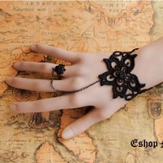 Victorian Gothic Lolita BLACK lace rose sakura BRACELET w chain n RING Costume Party St. Valentine day gift. $10.99, via Etsy.