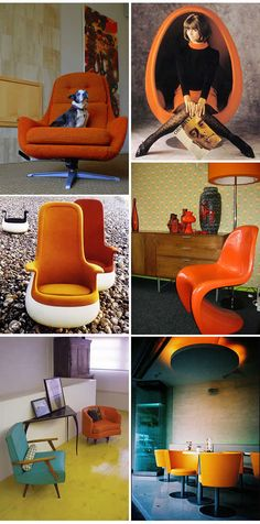 clockwise from top left:  occhio attento's dog on chair;  modern fred's mid-century mod;  ella since oxix's panton chair;   peminumkopi's orange chair;   anonymous;   modern fred's 60s pop art funiture.