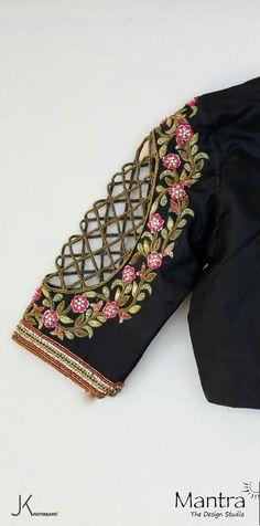 Indian Saree Blouse Handmade with Love and Labour. Designer blouse from Mantra designer February 2017 via SunjayJK DIVERSITY Fancy Blouse Designs, Bridal Blouse Designs, Blouse Neck Designs, Blouse Patterns, Indian Blouse Designs, Sleeve Designs, Sari Bluse, Ballet Russe, Indian Designer Wear