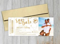 Foil Stamped Boarding Pass. Photo Boarding Pass Save the Date. Foil Stamped Save the Date. Destination Wedding Save The Dates, Destination Wedding Inspiration, Destination Wedding Invitations, Floral Wedding Invitations, Wedding Stationery, Invites, Boarding Pass Invitation, Vintage Save The Dates, Save The Date Photos
