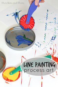 Line Painting Process Art- fun preschool activity