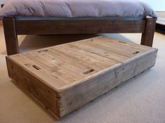 Reclaimed Wood Underbed Storage And Drawers Eat Sleep Live Rolling Storageunder Bed