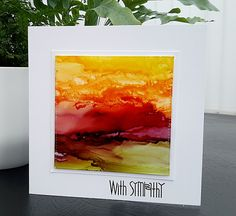 handmade sympathy card from Janey's Cards: Red Sky At Night ...  alcohol inks on yupo ... mod art landscape ... delightful!!