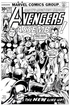 Free coloring page coloring-adult-avengers-couverture. A cover of a Marvel Comic Book in Black and white, with the whole team of The Avengers . Very good quality !
