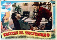 WHISPERING SMITH (1949) - Alan Ladd (pictured) - Robert Preston (pictured) - Brenda Marshall - Donald Crisp - William Demarest - Kay Holden - Mervyn Vye - Frank Faylen - Directed by Leslie Fenton - Paramount - Lobby Card.