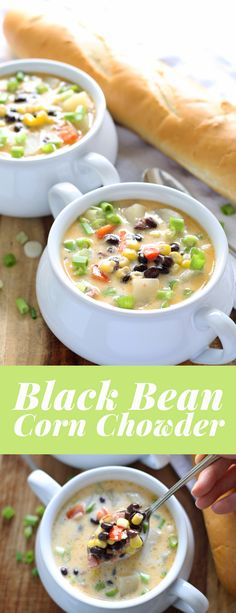 This black bean corn chowder is hearty and perfect for cool nights and corn season! | honeyandbirch.com
