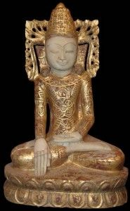 Burmese Shwe Bo Alabaster Buddha Statue dressed in royal regalia, rings and earings 19th Century